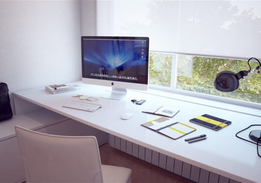 Built-in-white-desk